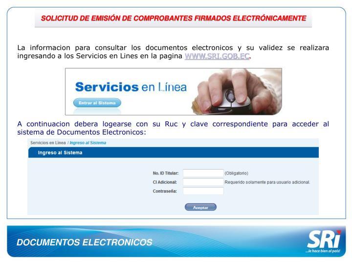 SOLICITUD DE EMISIÓN DE COMPROBANTES FIRMADOS ELECTRÓNICAMENTE