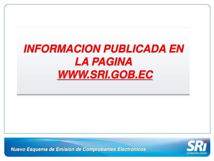 INFORMACION PUBLICADA EN LA PAGINA