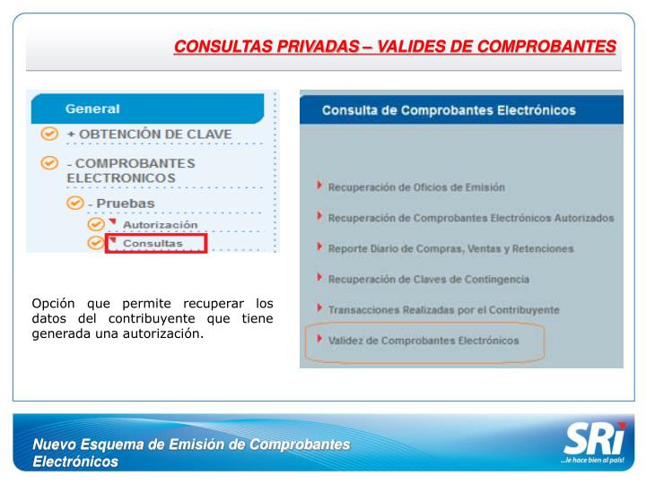 CONSULTAS PRIVADAS – VALIDES DE COMPROBANTES