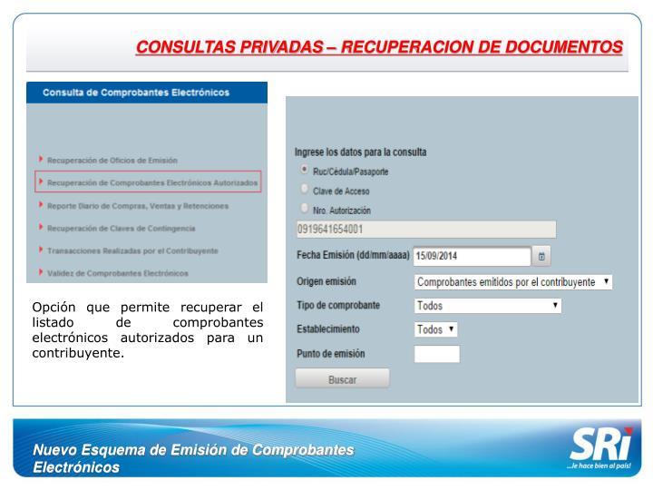 CONSULTAS PRIVADAS – RECUPERACION DE DOCUMENTOS