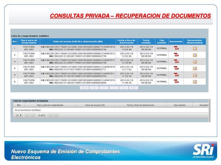 CONSULTAS PRIVADA – RECUPERACION DE DOCUMENTOS