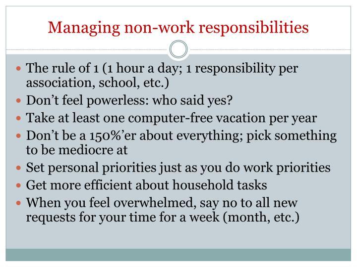 Managing non-work responsibilities