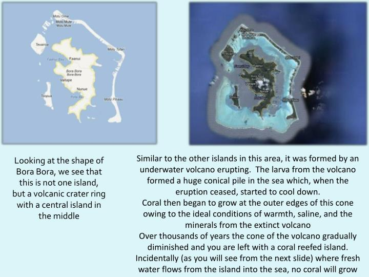 Similar to the other islands in this area, it was formed by an underwater volcano erupting.  The larva from the volcano formed a huge conical pile in the sea which, when the eruption ceased, started to cool down.
