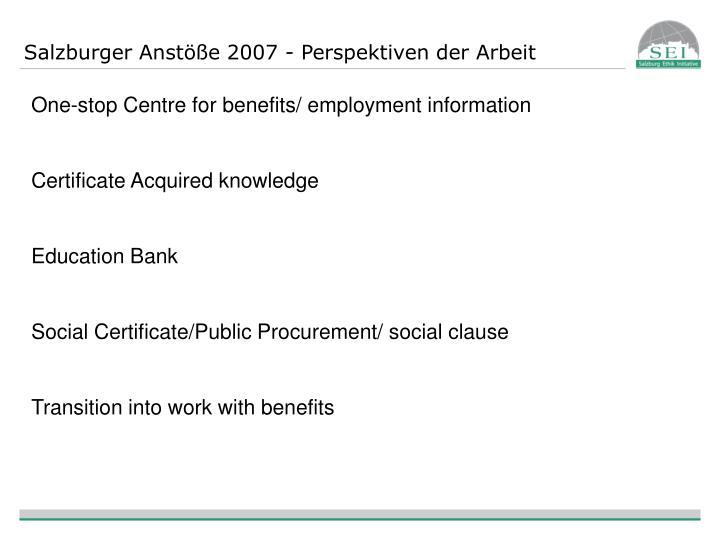 Salzburger Anstöße 2007 - Perspektiven der Arbeit