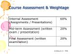 course assessment weightage