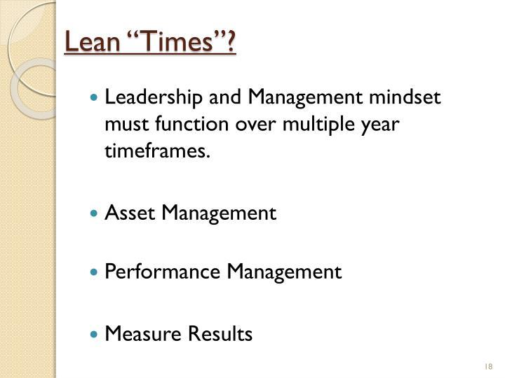 """Lean """"Times""""?"""