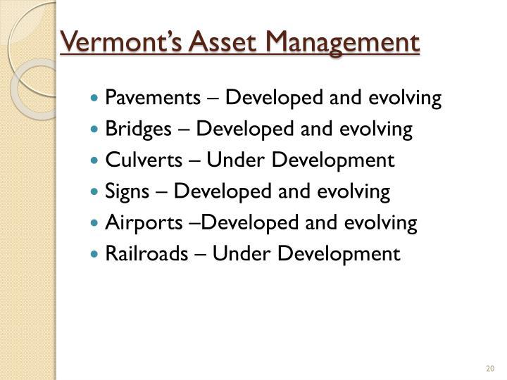 Vermont's Asset Management