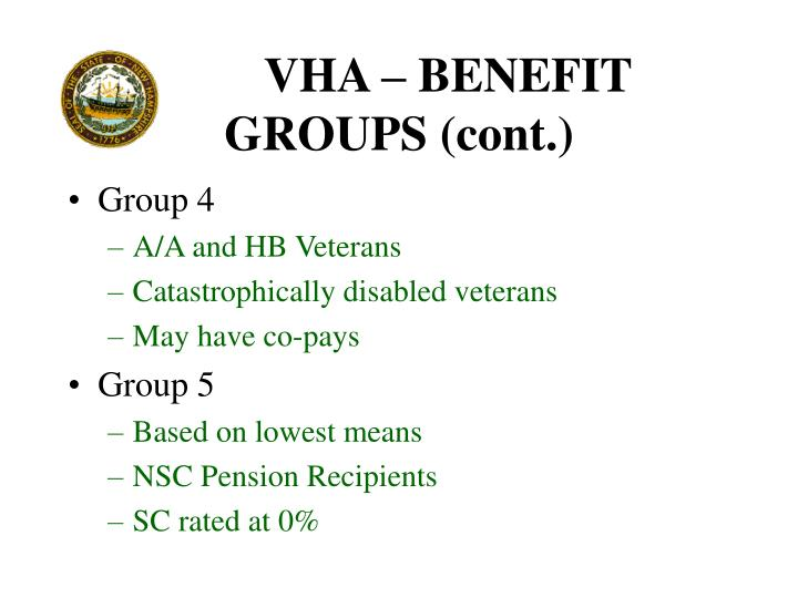VHA – BENEFIT GROUPS (cont.)