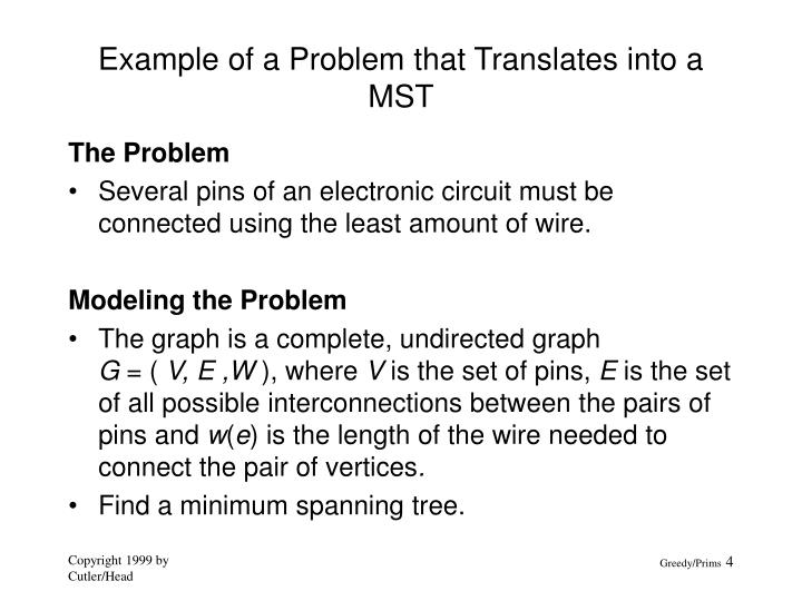 Example of a Problem that Translates into a MST