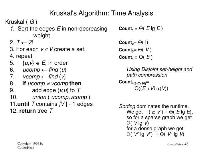 Kruskal's Algorithm: Time Analysis