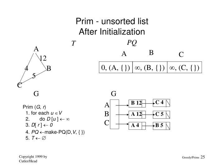 Prim - unsorted list