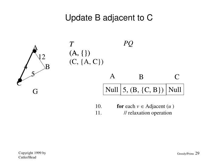 Update B adjacent to C