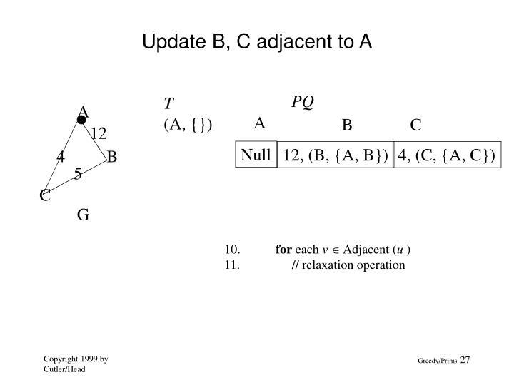 Update B, C adjacent to A