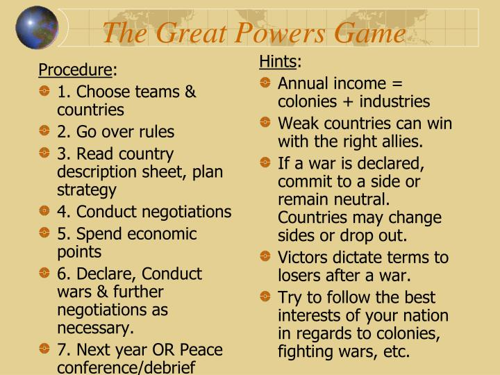 The great powers game