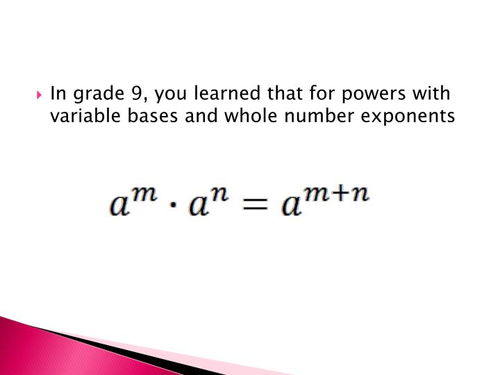 In grade 9, you learned that for powers with variable bases and whole number exponents