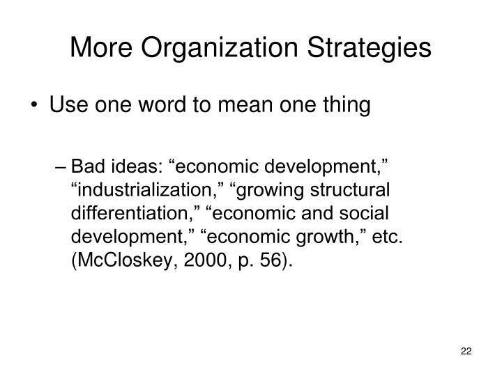 More Organization Strategies