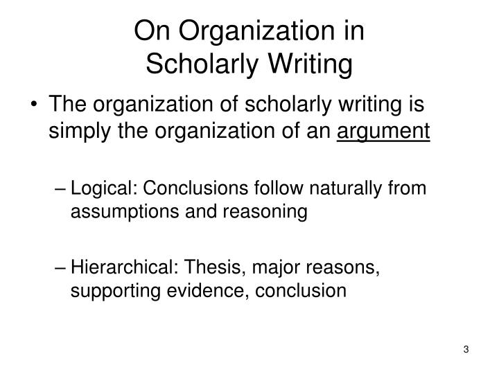 On organization in scholarly writing