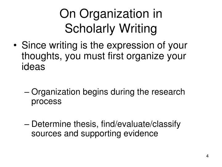 On Organization in