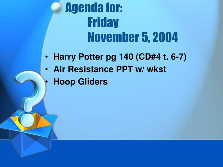 Agenda for:
