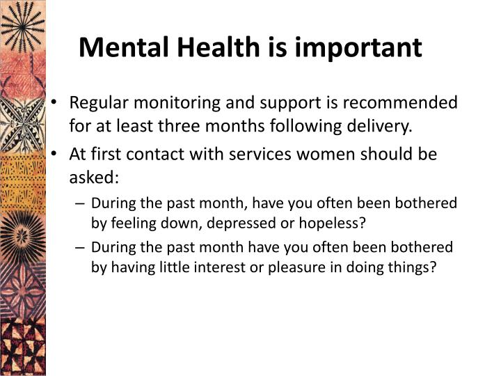 Mental Health is important