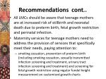 recommendations cont