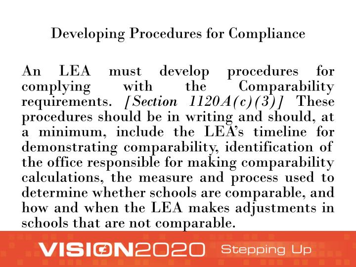 Developing Procedures for Compliance