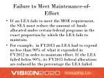 failure to meet maintenance of effort