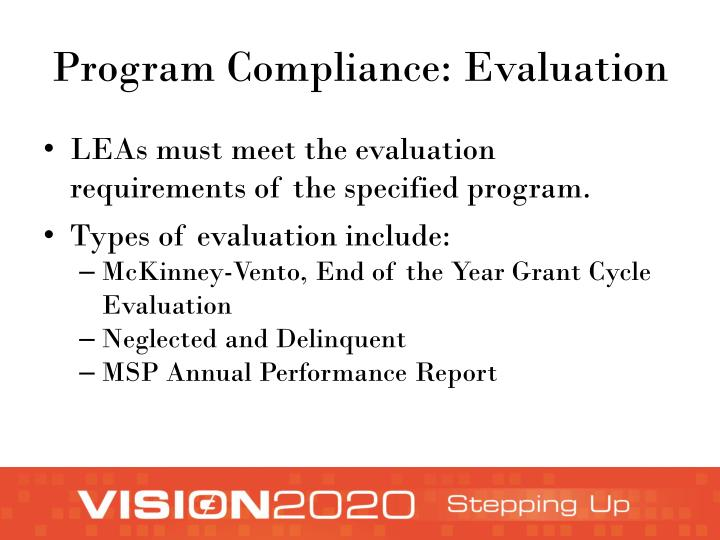 Program Compliance: Evaluation