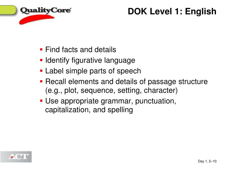 DOK Level 1: English
