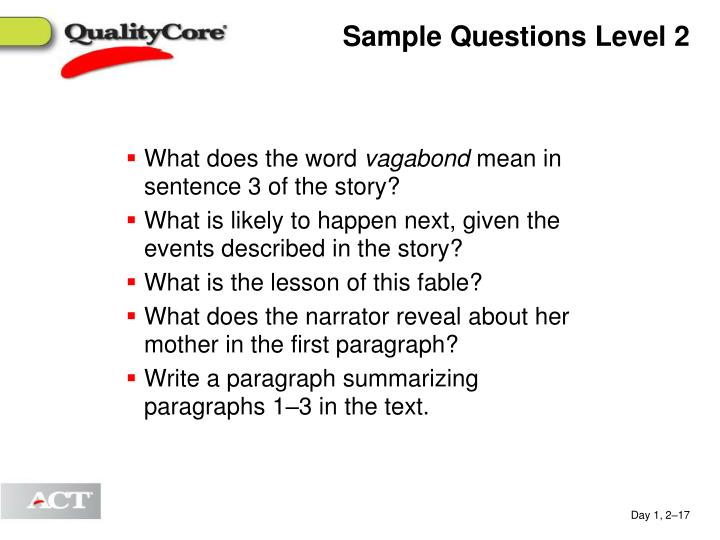 Sample Questions Level 2