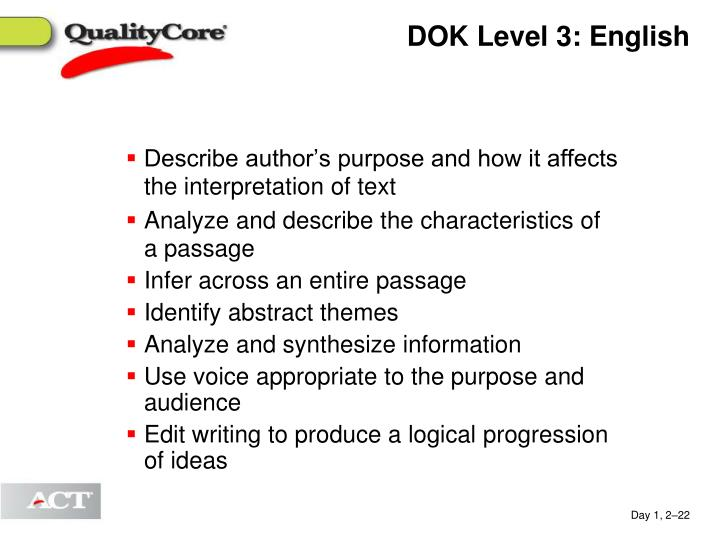DOK Level 3: English