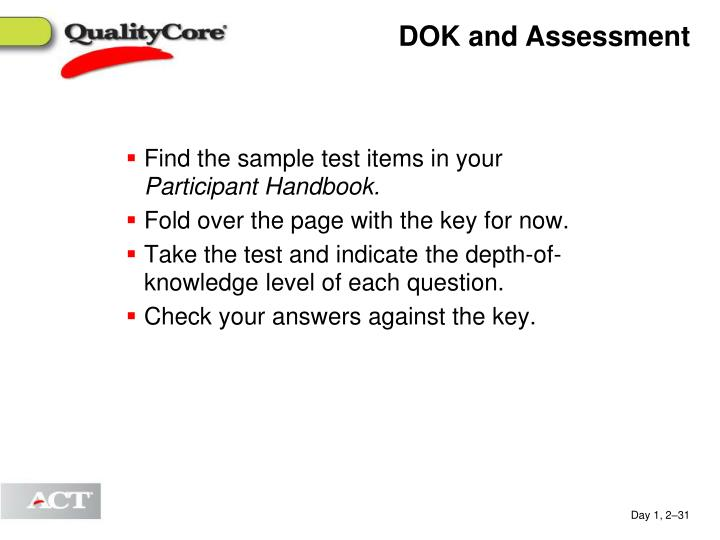 DOK and Assessment