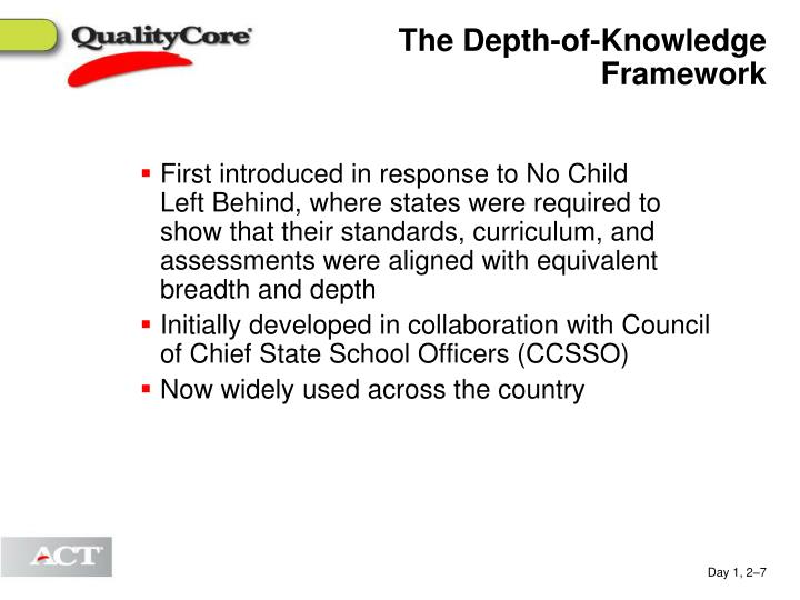 The Depth-of-Knowledge Framework