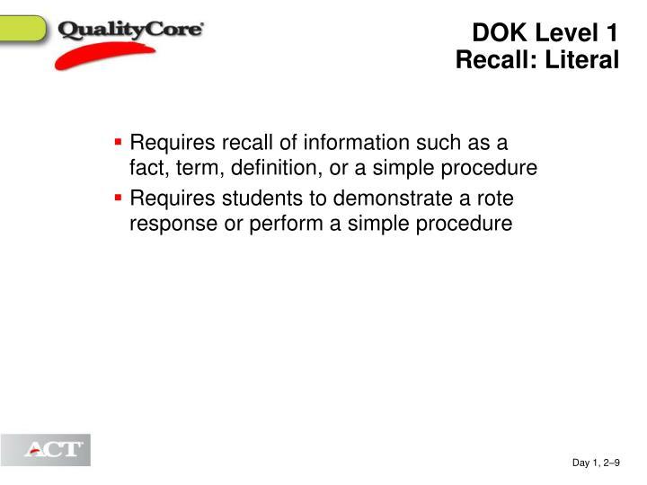 DOK Level 1