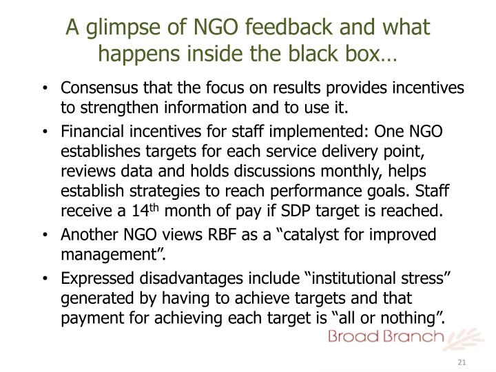 A glimpse of NGO feedback and what happens inside the black box…