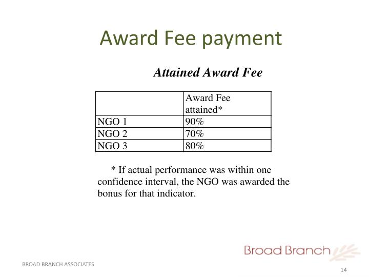 Award Fee payment