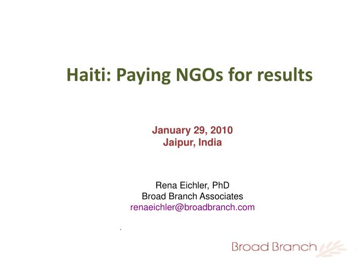 Haiti paying ngos for results