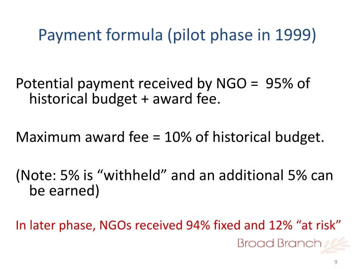 Payment formula (pilot phase in 1999)