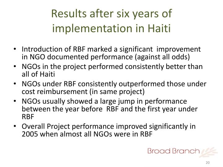Results after six years of implementation in Haiti