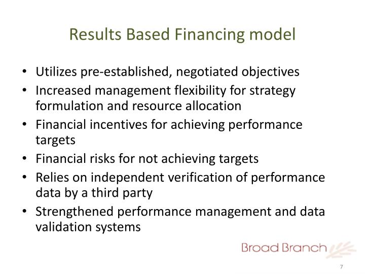 Results Based Financing model