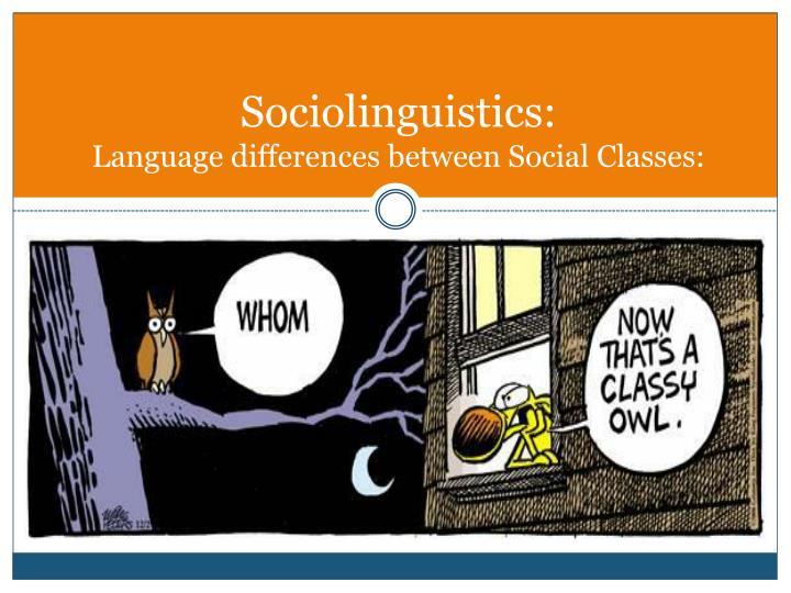 Sociolinguistics: