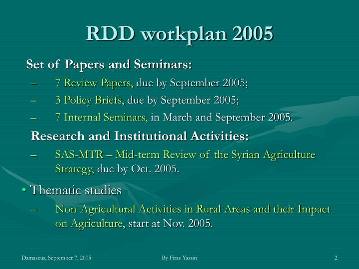 Rdd workplan 2005