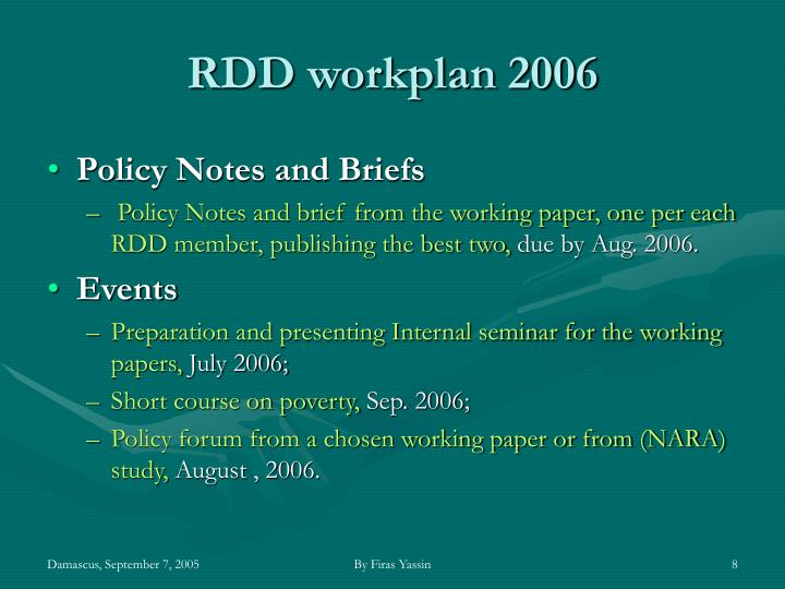 RDD workplan 2006