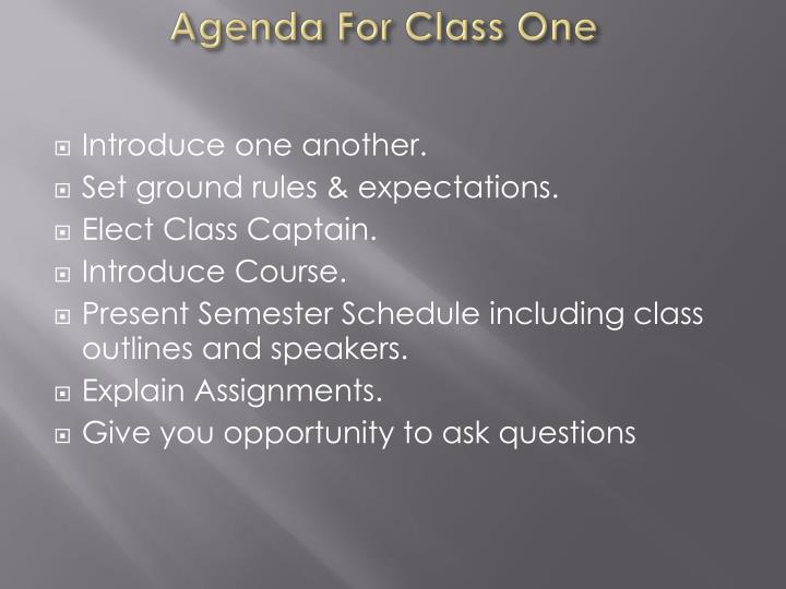 Agenda For Class One