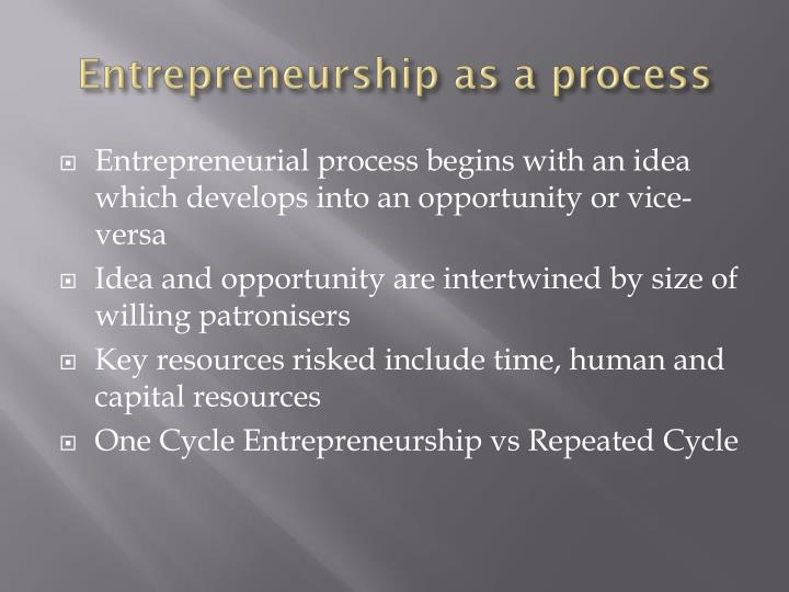 Entrepreneurship as a process