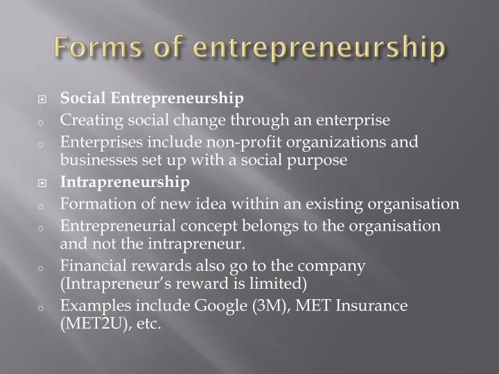 Forms of entrepreneurship