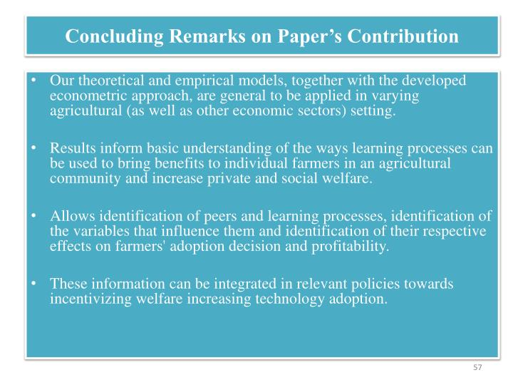 Concluding Remarks on Paper's Contribution