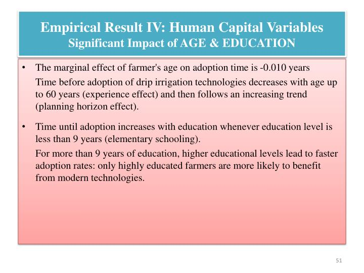 Empirical Result IV: Human Capital Variables