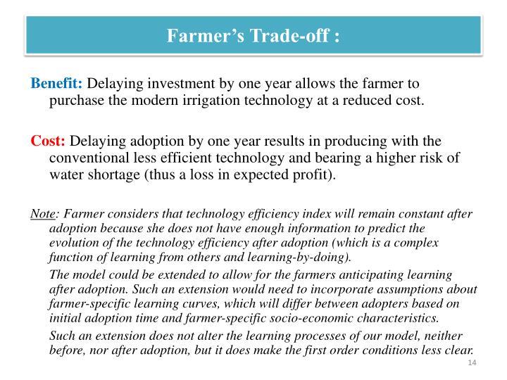 Farmer's Trade-off :