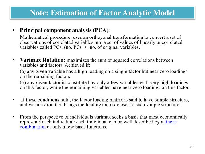 Note: Estimation of Factor Analytic Model